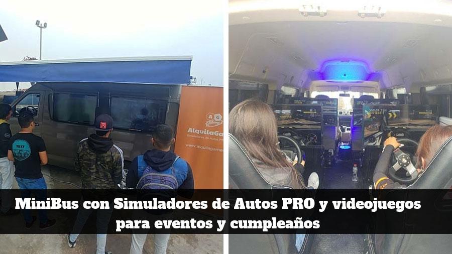 MiniBus con Simuladores de Autos y videojuegos